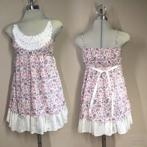 Summer White and pink Floral Fit Flare Dress